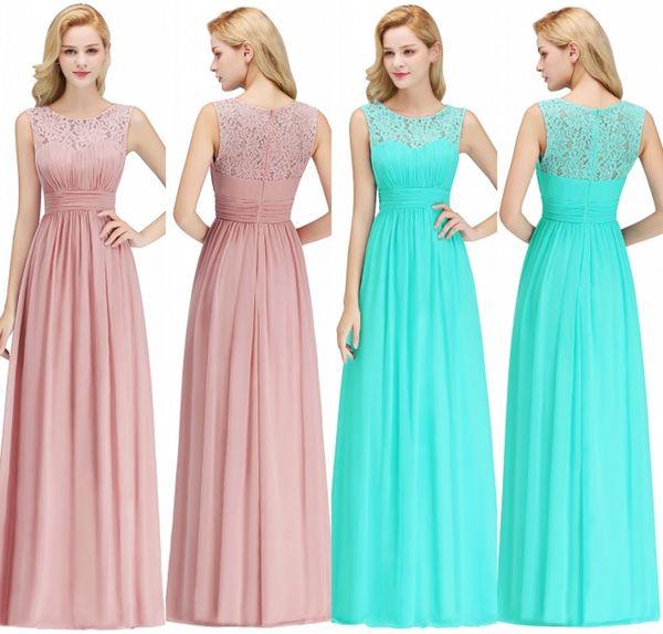 100% fotos reales Vestidos de damas de honor baratos para el verano Boho Beach Bodas Una línea de encaje gasa palabra de longitud de la boda vestidos de invitados CPS1067