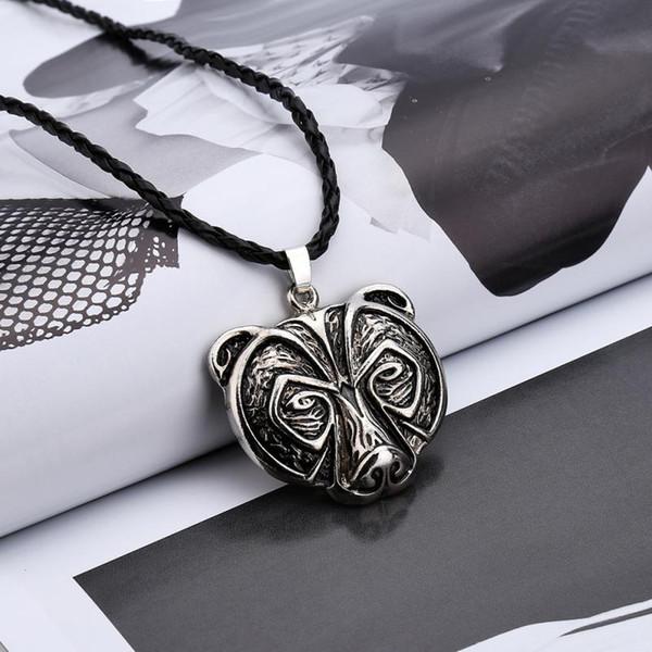 Hervorragende Bärenkopf Bärenkette Halsreif Legende Amulett Wikinger Torque Norse Amulett Halskette Anhänger Talisman Schmuck Schmuckstück Halsreif
