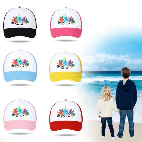 Unicorn Cap For Kid Baseball-Caps Mesh Back Unicorn Flower Horse Cap Hats Hip Hop Hat Vary Colors Flexable