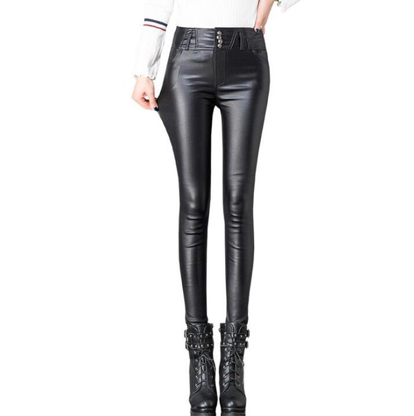 a4afdc15cbab1 Autumn Women's Leather Pants Women Female Winter High Waisted Pants Leather  Trousers Women PU Skinny Stretch