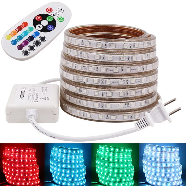 best selling RGB AC 110V 120V LED Strip Outdoor Waterproof Dimmable 5050 SMD Rope Light 60LEDs M with POWER SUPPLY Cuttable Free Shipping
