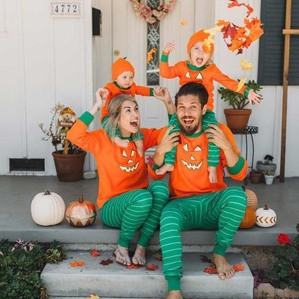 Kids Baby Women Men Pumpkin 2 Piece Suit Long Sleeve T shirt + Pants Outifts Pajamas Infant Rompers Halloween family parent-child Clothing