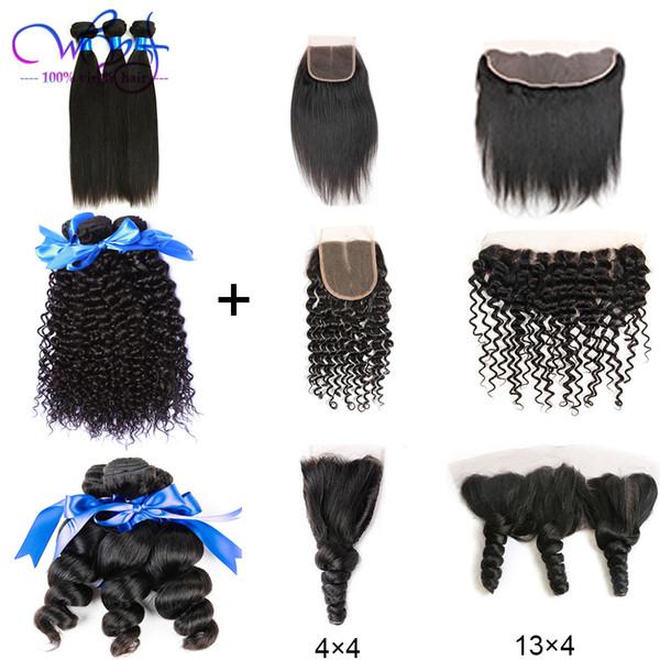Бразильские Виргинские Волосы 3 Пачки С Закрытием / Прифронтовыми Прямыми Свободными Пачками Вьющихся Волос Волны Выдвижения Weave Человеческих Волос 100% Unprocessed