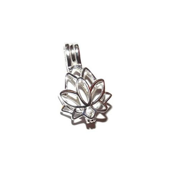 HOPEARL Jewelry Lotus Flower Pendant Charm 925 Sterling Silver Gift Wish Pearl Lotus Cage 3 Pieces