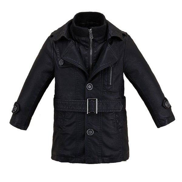 Two Layers Collar Boys Leather Jacket for Autumn Spring Kids Warm Motor Coat Bicycle Bomber Children's Clothes Wind-proof