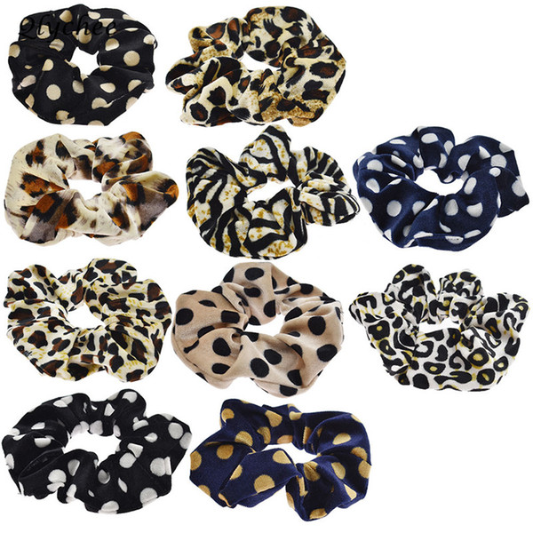 Qlychee Velvet Polka Dot Leopard Scrunchies Hair Band Trendy Fashion Women Elastic Hair Bands Female Hairwear