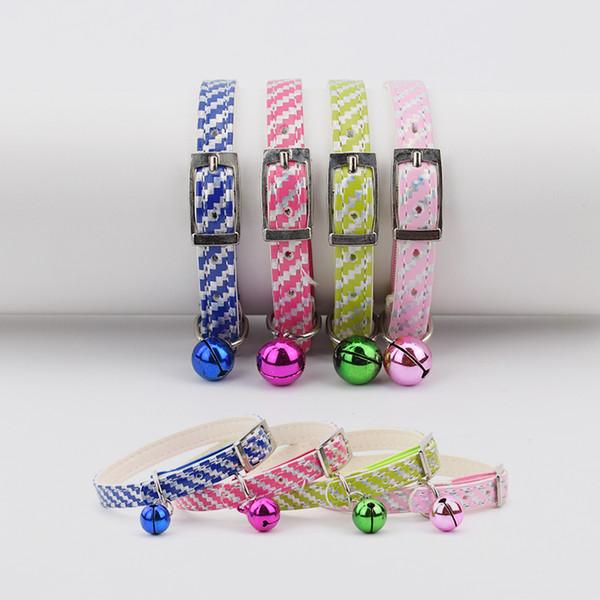 Collier de chien 12pcs / lot chiot chaton colliers en PU avec anneau réglable collier de bonbons couleurs Pet Products Animal Supplies