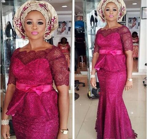 Nigerian Lace Styles Hot Pink Evening Formal Dresses For Black Women African Designer Mermaid Lace Bodice With Sleeves Cheap prom dress