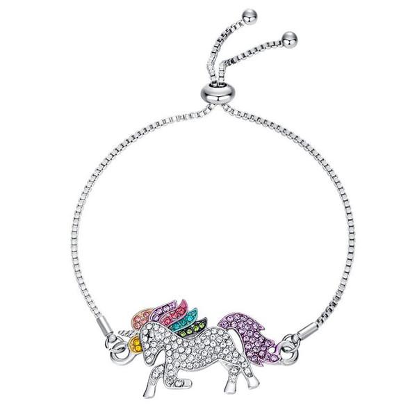 Marca nueva moda Unicorn enlace pulsera de cadena para mujeres niñas Crystal CZ Pave multicolor caballo colgante encanto pulseras joyas
