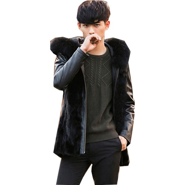 Large Size Mens Hooded Winter Autumn Faux Fur Overcoats Male Fox Fur Outwear Man-Made Stitching Leather Sleeves Jackets Clot