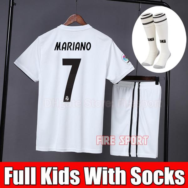 Grosshandel 2019 Kinder Kit Real Madrid Fussballtrikot 2018 19 Home Weiss Weg Jungen Kind Jugend Mariano Isco Vinicius Jr Bale Ronaldo 3 Fussball Shirts