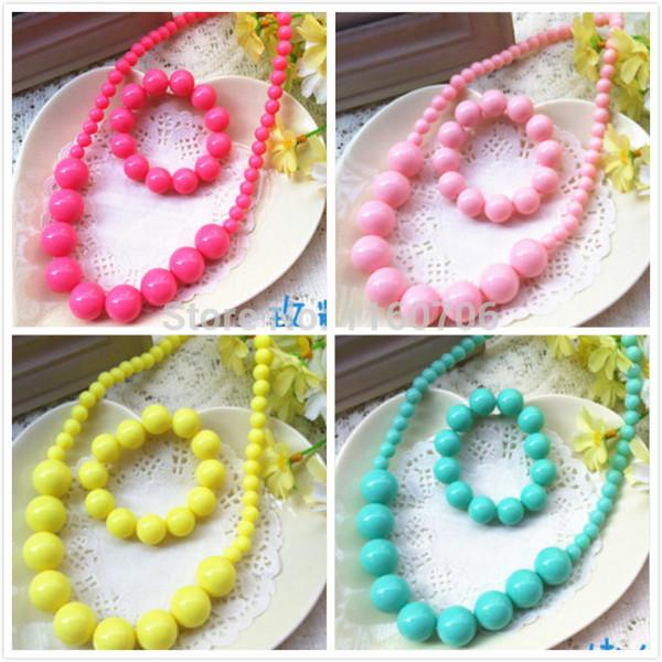whole sale2017 newest fashion candy color pendant necklace bracelet set girls child dress jewelry acrylic beads necklace jewelry wholesale