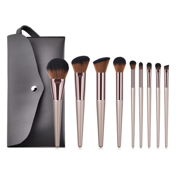 9pcs/set Makeup Brushes Set with bag Wooden Handle Champaign Gold for Eyeshadow Blush Brushes Cosmetic Tools Kits T09014