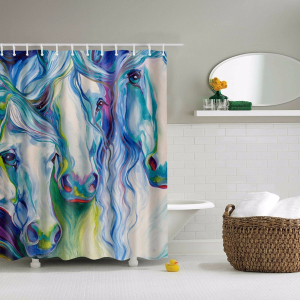 Svetanya Color Horse Print Shower Curtains Bath Products Bathroom Decor with Hooks Waterproof 71x71""