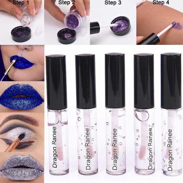 Sexy Metallic Liquid Lipstick Glitter Tinte Lip Glue Makeup Waterproof Brillo de labios Colorful Plastic Silver Powder Glue Cosméticos