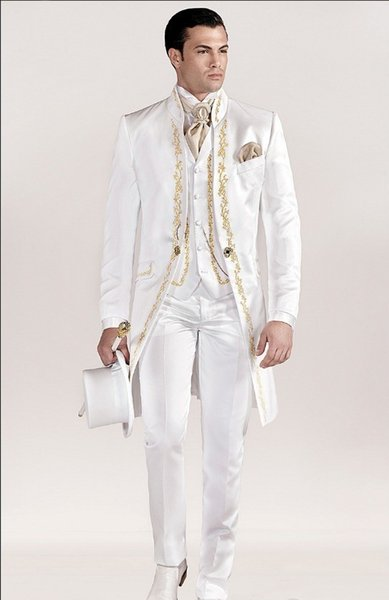 Long Pattern Embroider Groomsmen Mandarin Lapel Groom Tuxedos Men Suits Wedding/Prom/Dinner Best Man Blazer(Jacket+Pants+Tie+Vest)