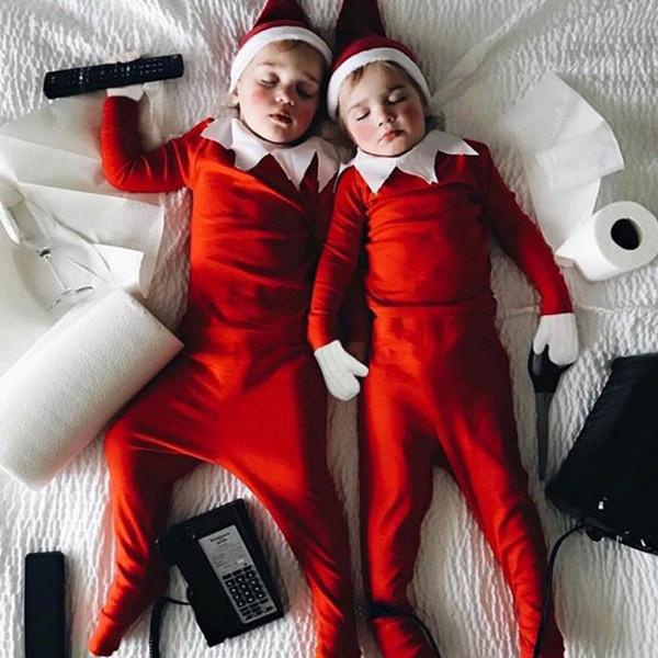 Bebek Noel Tulum Tulumlar Santa Şapkalar Suits Kırmızı Uzun Kollu Footies Düğmeleri 2-piece Yenidoğan Erkek Kız Tasarımcı Giyim Setleri Çocuklar Wi