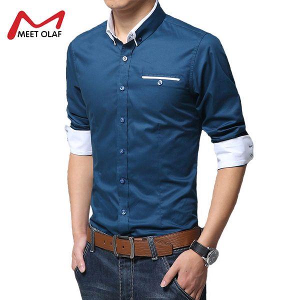 Velvet Thickened Men Shirt Smart Casual Turn- down Collar Long Sleeve Shirt 100% Cotton Warm Slim Fit Mens Dress Shirts YL1853