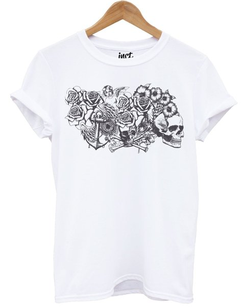 Cherub White T Shirt Skull Roses Cross Rosary Beads Emo Graphic Tattoo Design Cool Casual pride t shirt men