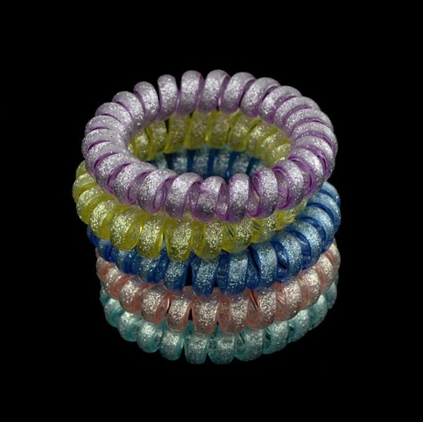 5 PCS Big Telephone Wire Line Cord Candy Color Rubber Elastic Hair Bands Tie Gum Scrunchie Hair Accessories For Women