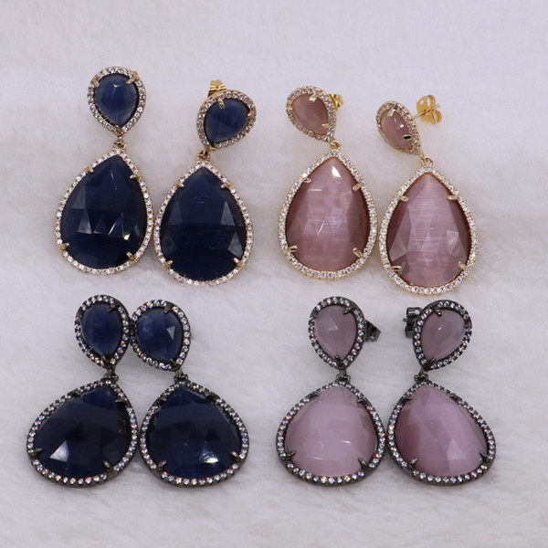 5 Pairs Fashion Mix Color Faceted Crystal Stone & Metal Dangle Earrings Cat Eye Drop Earrings Gems Jewelry for Women