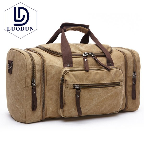303a968ab0c4 LUODUN Canvas Men Travel Bags Carry on Luggage Bags Men Duffel Bag Tote  Large Weekend Bag