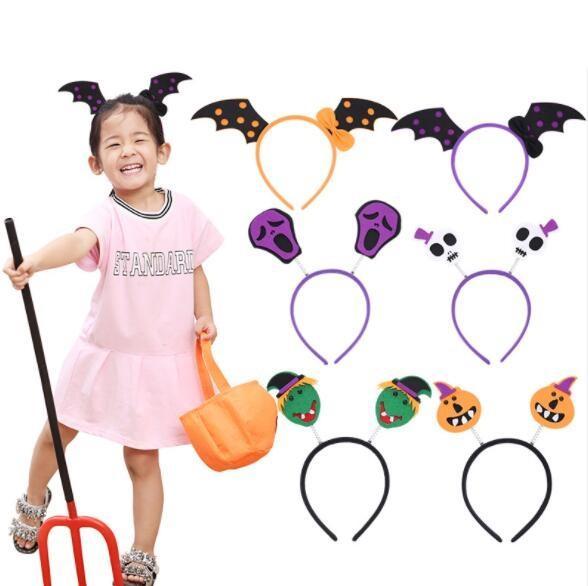 Halloween Bats Pumpkin Headband for Girls Women Bowknot Hair Bands Halloween Headdress Gifts YH1511