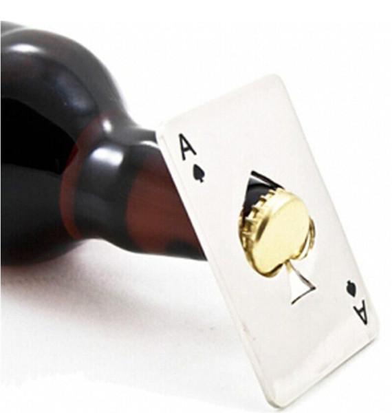 Tarjeta de juego de póker de acero inoxidable portátil Ace of Spades Bar Tool Botella de cerveza de refresco abridor de tapa regalo para la barra de herramientas de bolsillo Cocina de plata