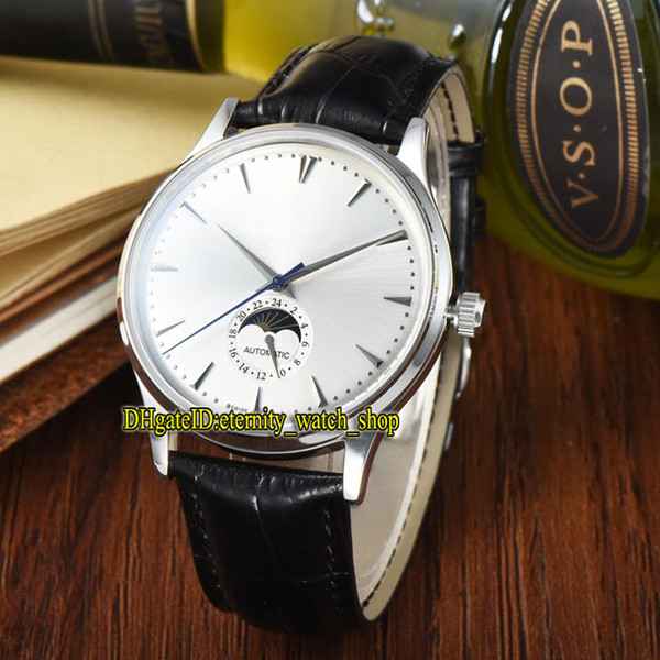 High Quality Luxry New MASTER ULTRA THIN 1368420 Moon Phase White Dial Automatic Mens Watch Silvery Case Leather Strap Leisure Watches