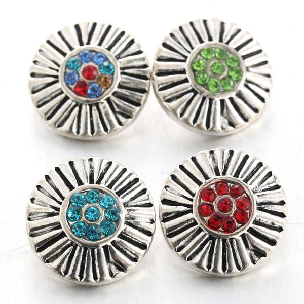 Boom Life Mix colores Crystal 18mm metal Snap Button Jewelry Metal para pulseras del encanto Unisex pulseras de cristal joyería kc111