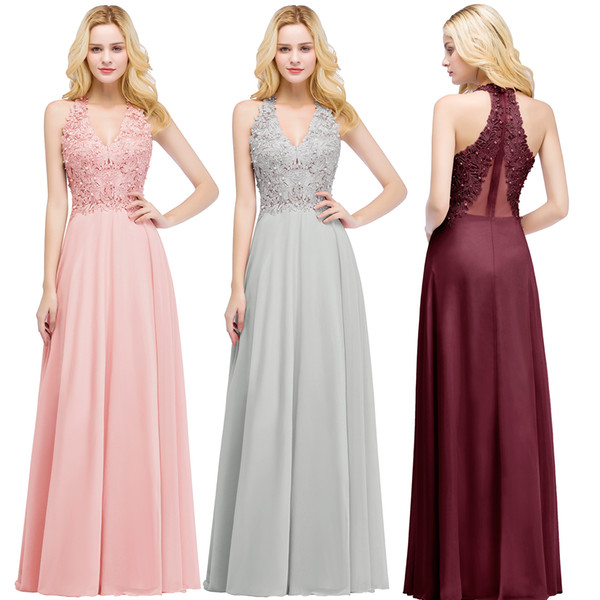 2019 Newest Real Image Prom Dresses V Neck Chiffon Lace Pearl Illusion Back Formal Occasion Wear Evening Party Gown IN STOCK CPS912