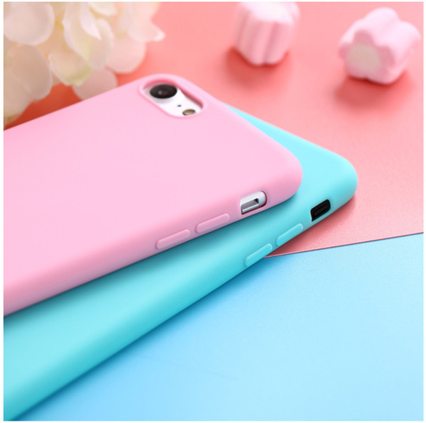 2018 Hot sale For iphone 6 plus case X 10 Solid Color Ultrathin Soft TPU Cases Cute Candy Color Phone Case Back Cover