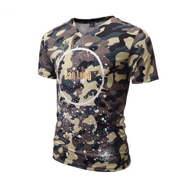 New summer camouflage Short Sleeve V-Neck Fashion leisure Slim digital printing T - shirt Size M-3XL 5V00