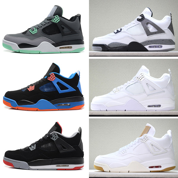Großhandel NIKE Air Jordan 4 Retro 2018 4 4s Basketball Schuhe Männer Pure Money Royalty White Zement Raptors Schwarze Katze Bred Fire Red Herren