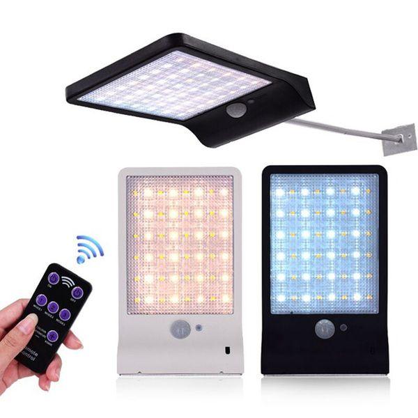 Edison2011 48 LEDs Solar Powered Remote Control Outdoor Lighting with PIR Motion Sensor IP65 Waterproof Garden Street Solar Lamp