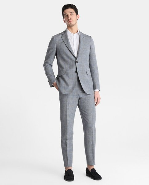 Two Pieces Mens Suits Two Botton Grey Trim Fit Harris Tweed Custom Made Side Vent Wedding Groomsmen Tuexdos Suit