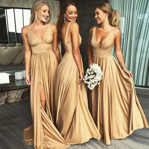 2019 Sexy Long Gold Bridesmaid Dresses Deep V Neck Empire Split Side Floor Length Champagne Beach Boho Wedding Guest Dresses