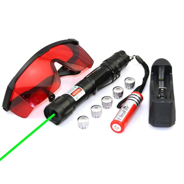 SDlasers GS9-0050 532nm Green Laser Pointer With 1*18650 Li Battery &5*Star Cap & Charger & Goggles Funny Pet stick Childrens Cat Toys