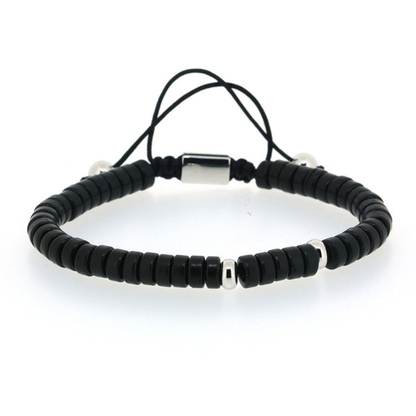 Design Chungky Flat Black Acrylic Onyx Stone Bead Silver Color Copper Charm Knot Adjustable Braiding Macrame Bracelet For Man