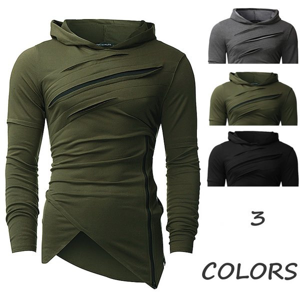 Winter Men Fashion Hip Hop Hoodies Irregular Design Slim Fit Pullover Zipper Casual Leisure Hoody Scratched Tops Black Gray Plus Size M-3XL