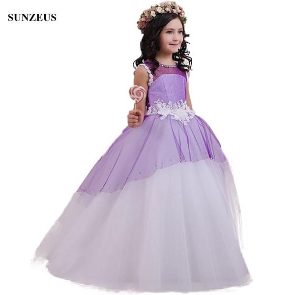 Lila Blumenmädchen Kleider Perlen A-Linie lange Chidren Hochzeit Party Kleider mit Applikationen Kommunion Kleid weiß