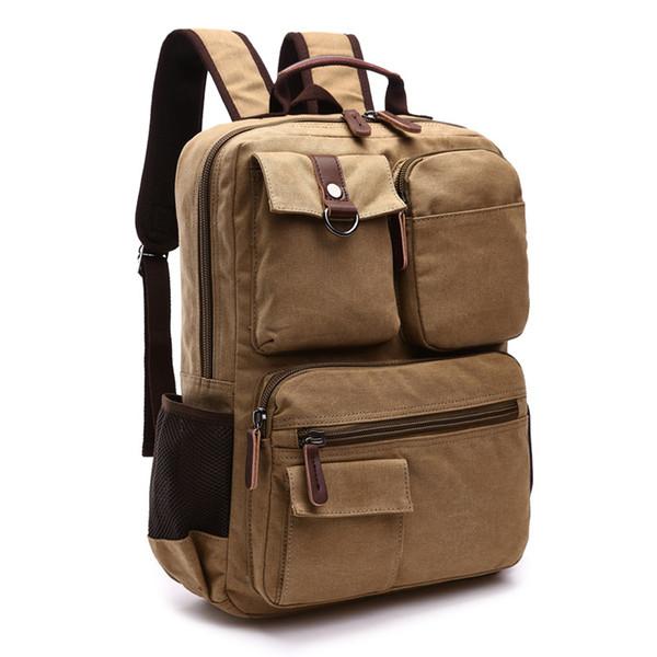 Hight Qualidade de Couro Da Lona para Homens Sacos de Viagem Mochila Sacos de Fim de Semana Bag multi-função Mochilas Laptop Bolsa de Ombro Das Mulheres