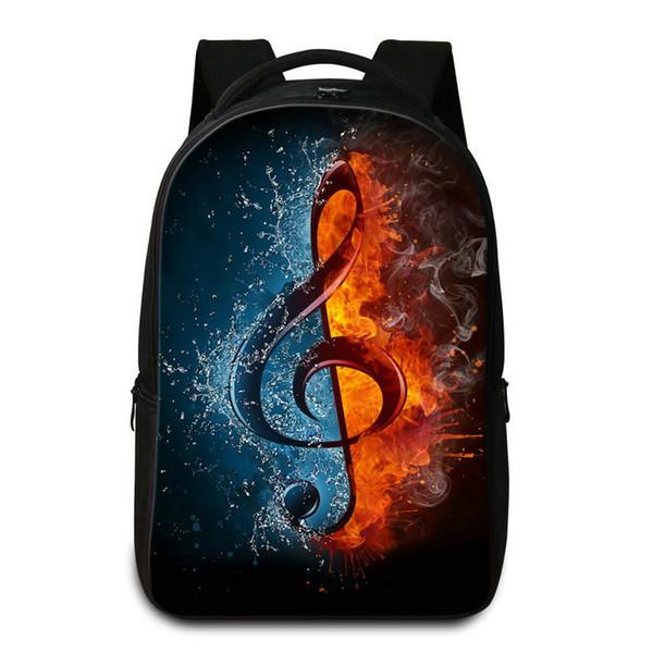 Mochila para portátil de gran capacidad para estudiantes universitarios Impresión de notas musicales Bolsas de escuela para adolescentes Mujeres Hombres Mochila de Hip Hop Mochilas Pack