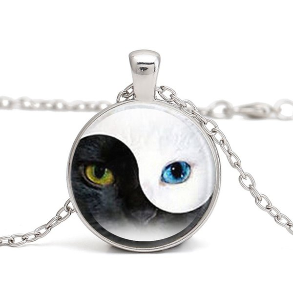 European and American fashion vintage alloy necklace Yin Yang Tai Chi Bagua map Time gemstone pendant necklace wholesale HOT SALE 161011