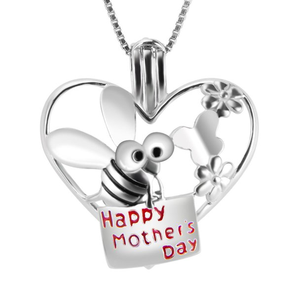 Happy Mother's Day 925 Sterling Silver Lovely Bee in Heart Shape Cage Pendants for your Best Mom, 21*20.1*10.1mm, Free Shipping