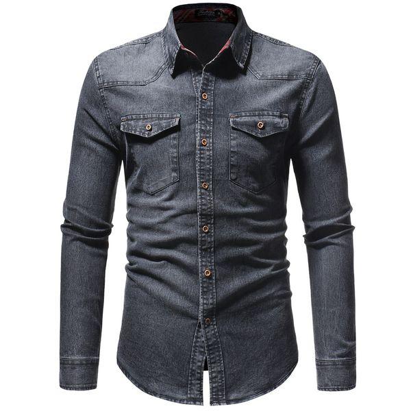 2018 Men Shirt Classic Casual Demin Shirt Long Sleeve Brand-Clothing Social Chemise Homme Jeans Wear Plus Size XXXL