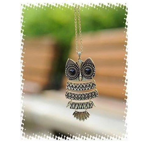 Hotting Women's Retro personality Stylish owl pendant necklace long sweater chain for women xmas gifts best quality factory price