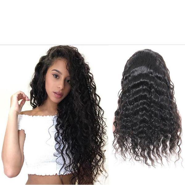 Pelucas de cabello humano Frente de encaje Brasileño Indio Indio Pelo rizado Peluca llena del cordón Remy Pelo virginal Pelucas delanteras del cordón para las mujeres negras