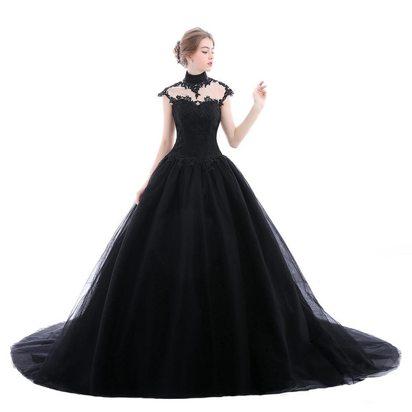 High Neck Gothic Black Wedding Dresses 2019 New Design Custom Made Court Train Backless Cap Sleeve Ball Gown Lace Tulle Bridal Gowns W201