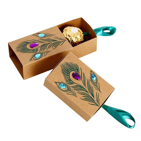 Peacock Feather Candy Boxes Drawer Design Wedding Favors Faux Rhinestone Kraft Paper Gift Boxes 7.5*5*3cm scatole regalo BX004